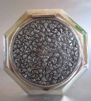 ‹ (•¿•) › An Antique Persian Solid Silver Powder Compact / Box photo