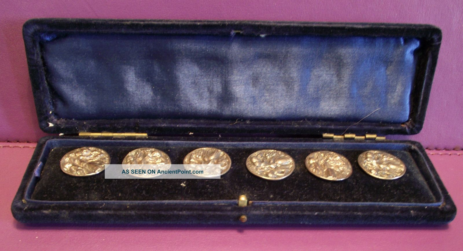 Antique Solid Silver Cased Set Of 6 Solid Silver Buttons Rare London Maker 1894 Other photo