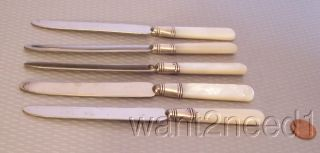 Antique Old Set 5 Mother Of Pearl Handle & Sterling Silver Collar Knives photo