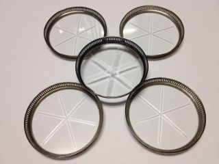 5 Vintage Antique Pierced Sterling Silver & Crystal Coasters - Not Scrap photo