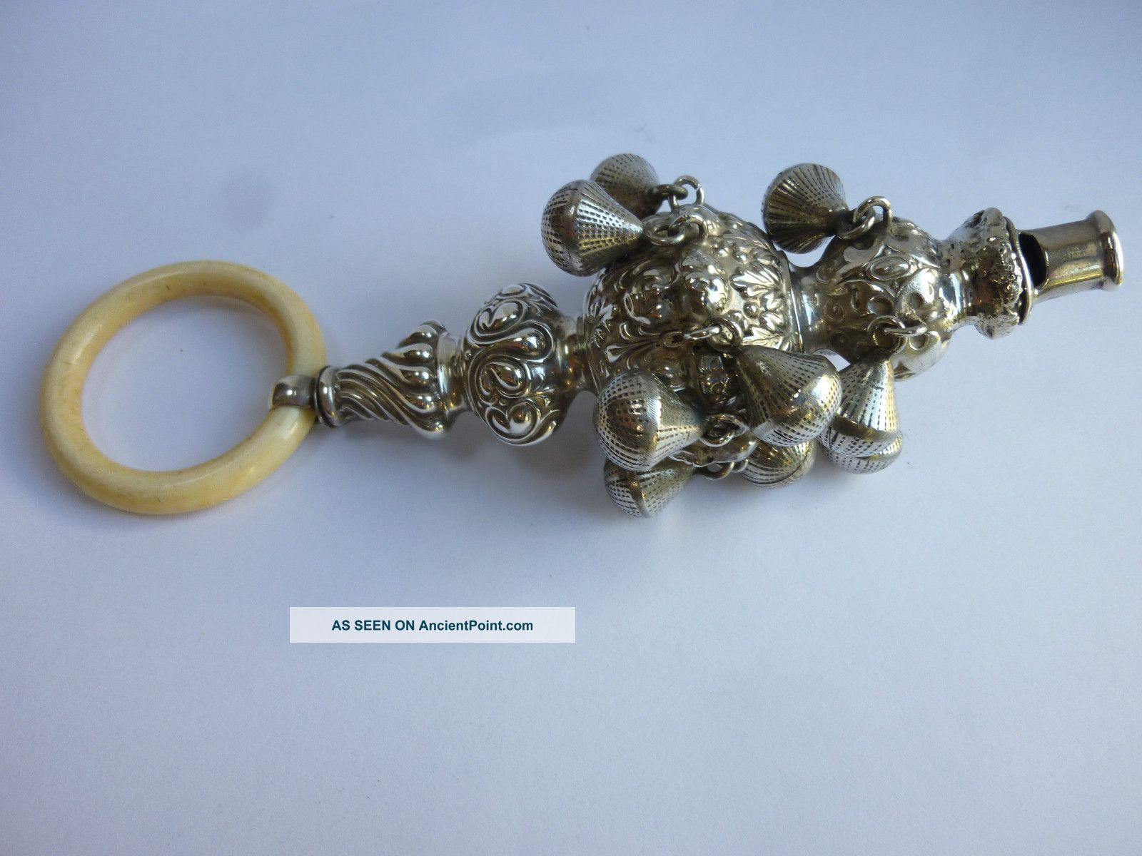 Rare Edwardian Large Solid Silver Babys Rattle / Teething Ring - C Norris 1905 Other photo