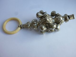 Rare Edwardian Large Solid Silver Babys Rattle / Teething Ring - C Norris 1905 photo