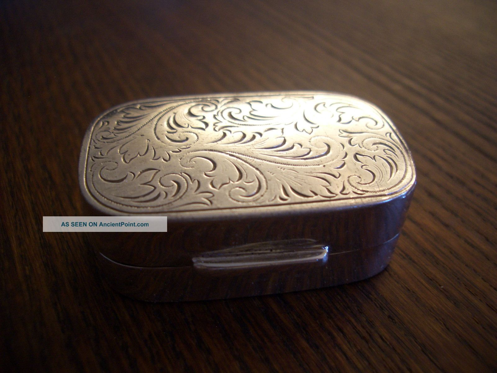 Silver Trinket Box Fully Hallmarked Floral Swag Engraved Top Boxes photo