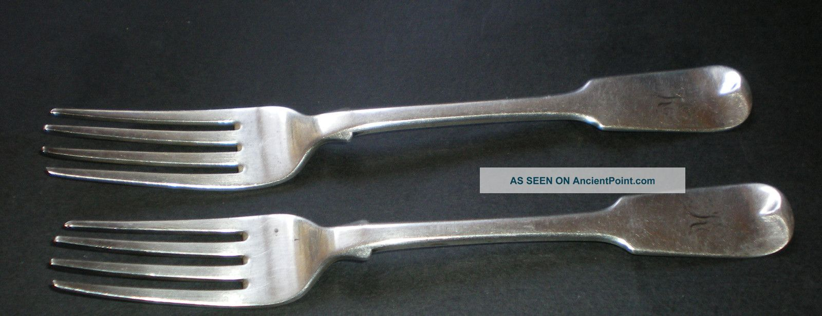 Pair Scottish Provincial Silver Forks Greenock Alexander Campbell C1800 Antique Other photo
