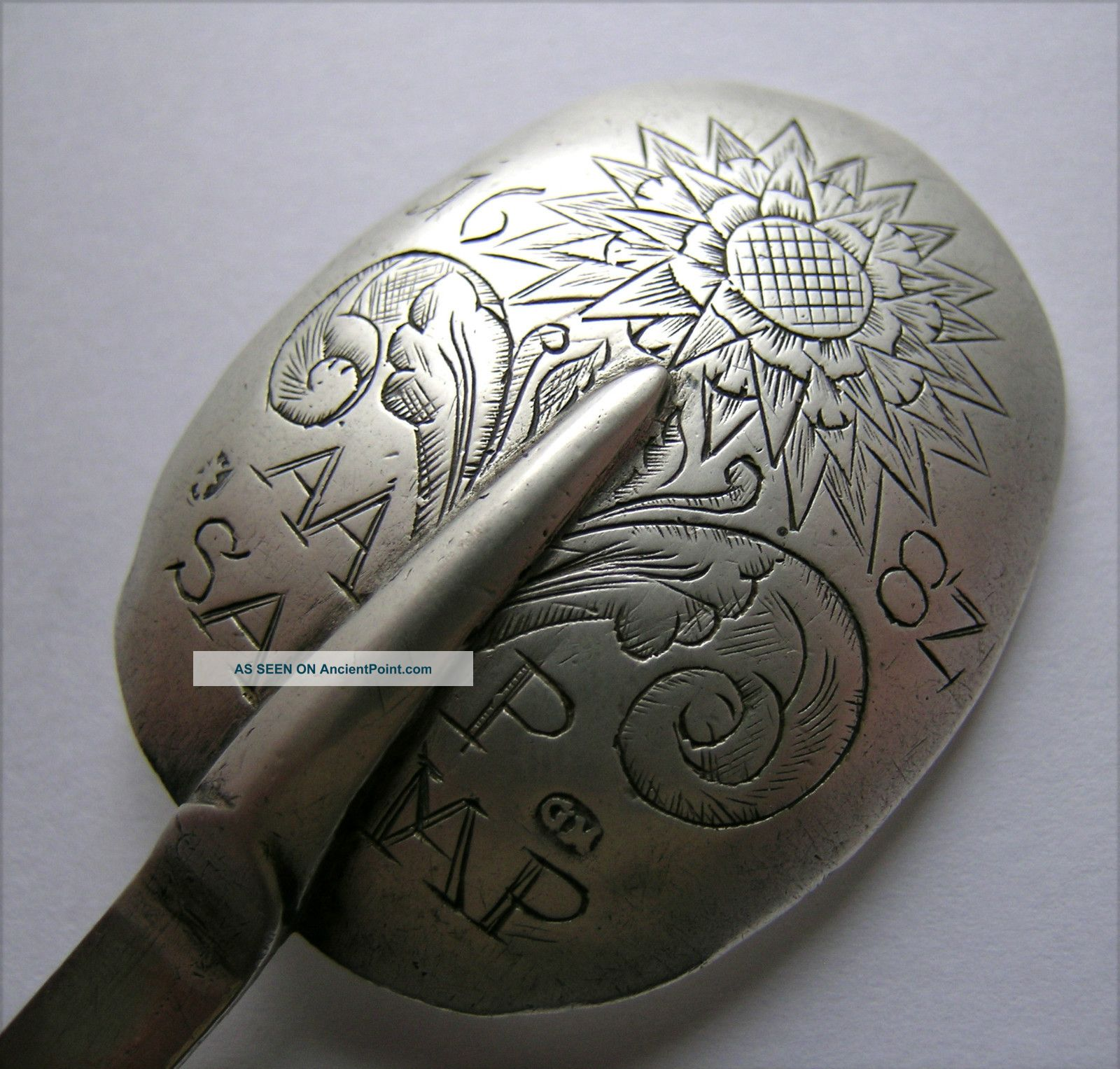 An Early German/hungarian Silver Trefid Spoon,  Dated ' 1682 ' Engraving Other photo