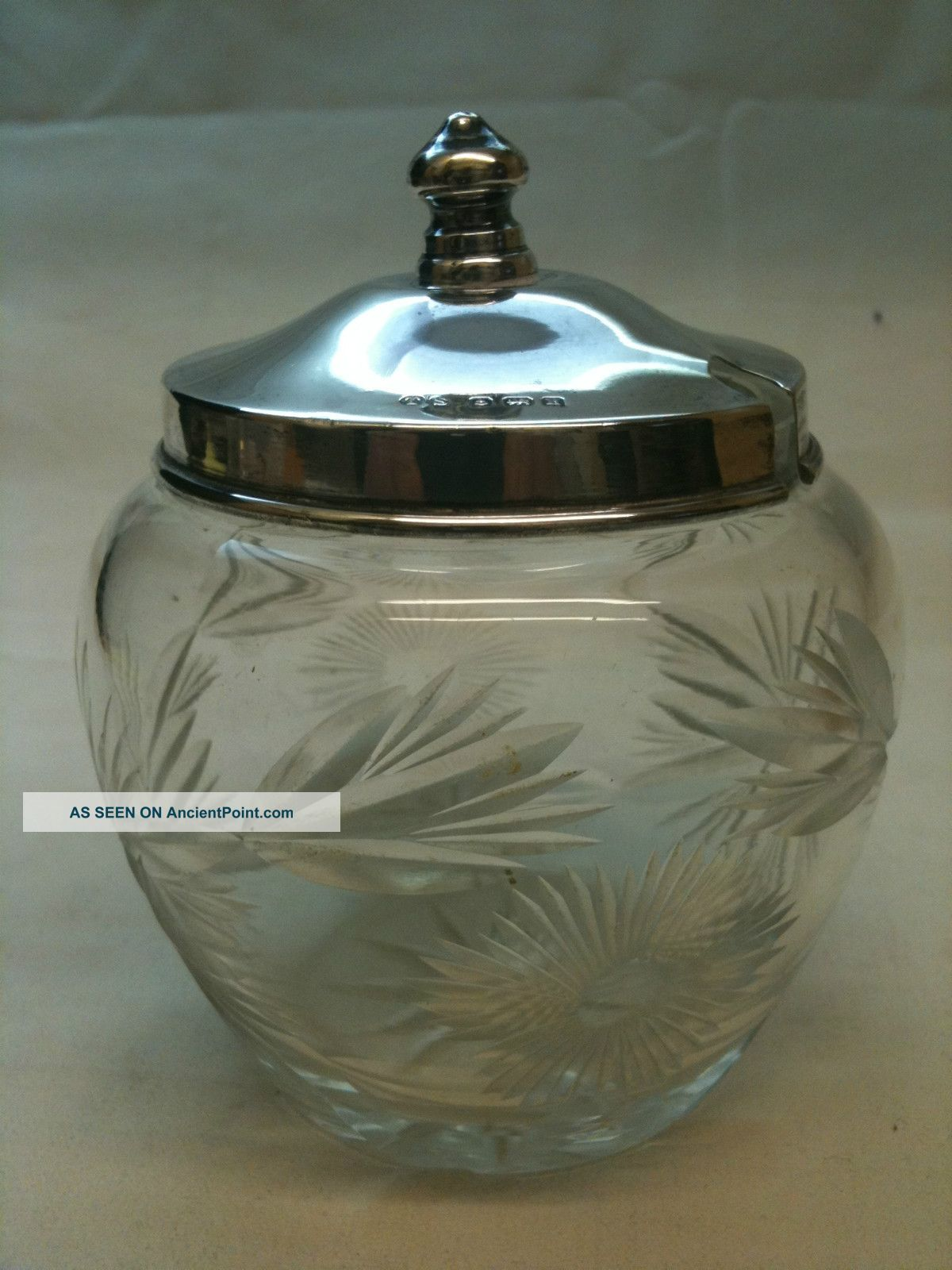 Antique Cut Glass Preserve Pot With Silver Lid Birmingham Ref756 Other photo