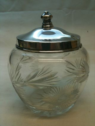 Antique Cut Glass Preserve Pot With Silver Lid Birmingham Ref756 photo