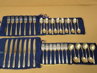 42 Piece State House Inaugural Sterling Silver Flatware Set For 7 Silverware Vtg photo