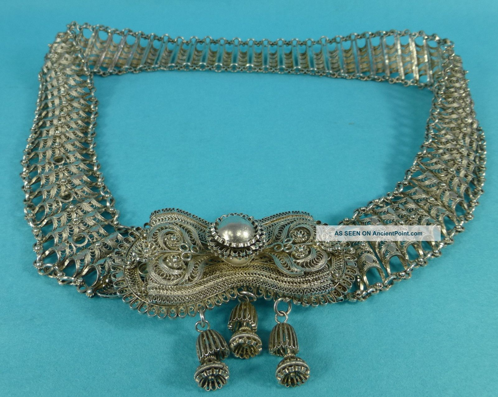 Rare Colonial Indian Sterling Silver Filigree Belt Huge 33 Inch 378 Grams C1895 Other photo