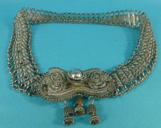 Rare Colonial Indian Sterling Silver Filigree Belt Huge 33 Inch 378 Grams C1895 photo