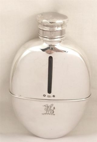 Antique Hallmarked Sterling Silver Hip Flask With Cup - 1876 - Armorial Crest photo