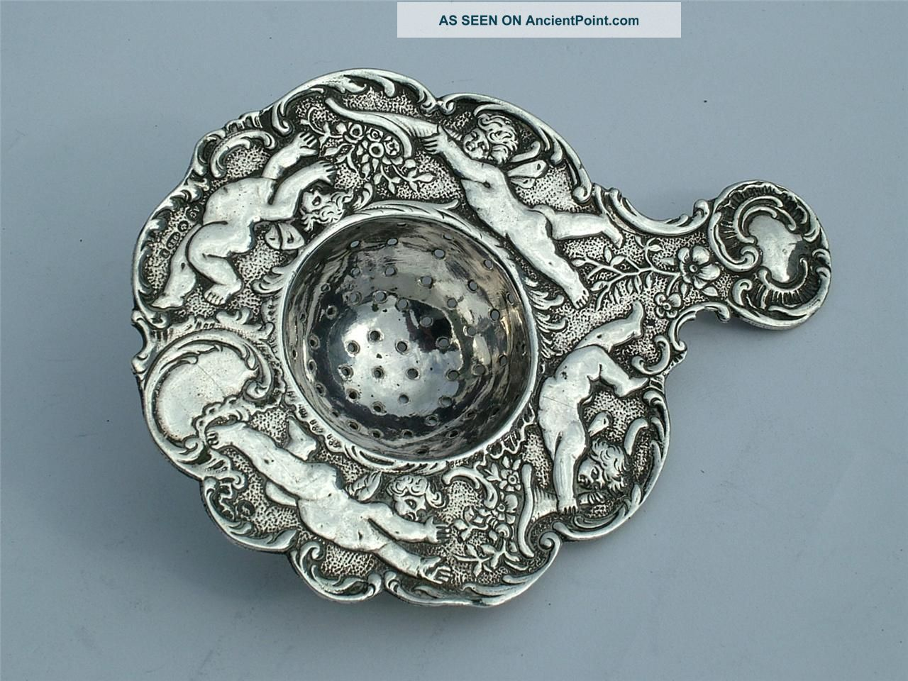 Solid Silver 1908 Arthur Graf Tea Strainer Embossed With Cherubs Other photo