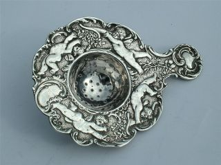 Solid Silver 1908 Arthur Graf Tea Strainer Embossed With Cherubs photo