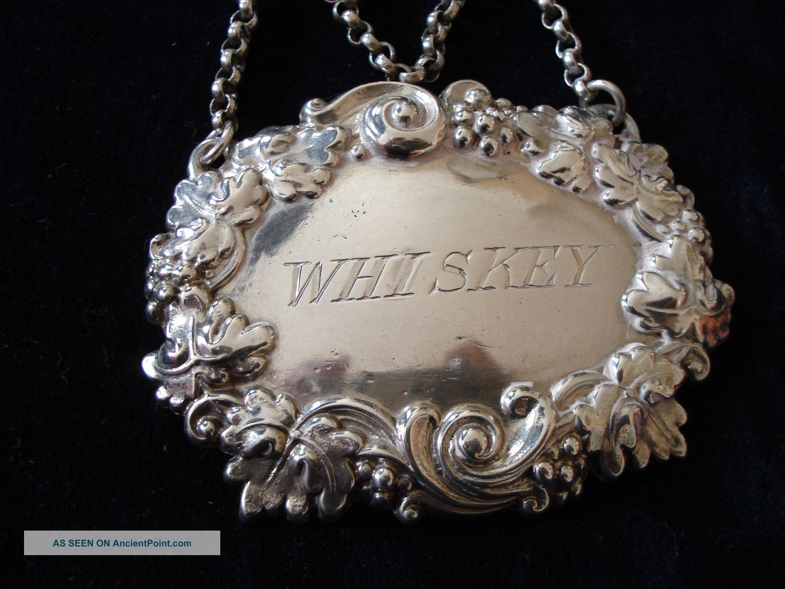 Ornate Silver Decanter Label Whiskey,  Martin Hall And Co Sheffield 1911 Aprox Other photo