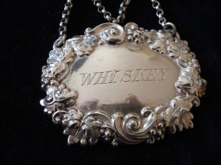 Ornate Silver Decanter Label Whiskey,  Martin Hall And Co Sheffield 1911 Aprox photo