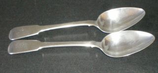 Pair Scottish Provincial Silver Spoons Greenock Alexander Campbell C1800 Antique photo