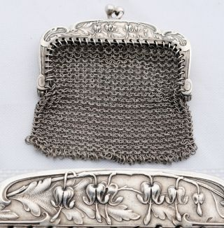 Art Nouveau Sterling Silver Mesh Purse French Bleeding Hearts Coeur De Marie photo