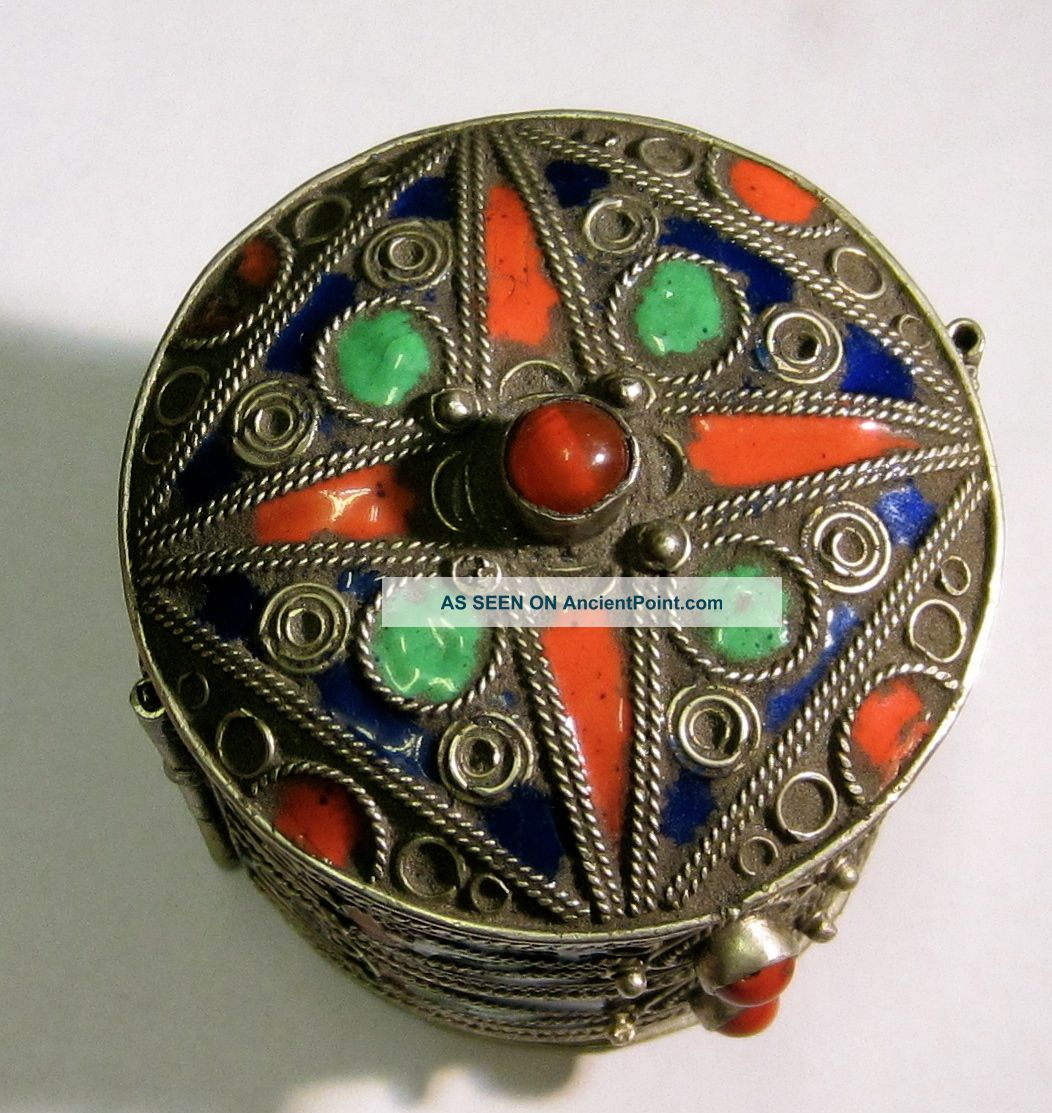 Antique Russian? Enamel Box Vintage Arabic? Silver? Old With Coral Russia Russia photo