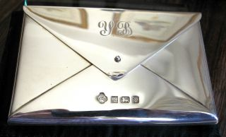 Solid Silver Card Case Asprey & Co (plc Hallmark) Good Condn.  Monogram W/ Pouch photo