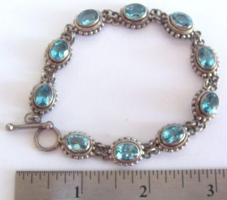 Vintage Hand - Made Sterling Silver & Aquamarine Bracelet - 30 Grams,  1 Oz,  Signed Ba photo