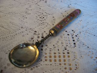 Rare Large Antique Easten European Or Russian Silver Spoon With Porcelain Handle photo