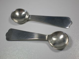 Pair Vintage Sterling Large Size Salt Spoons 2 - 3/8