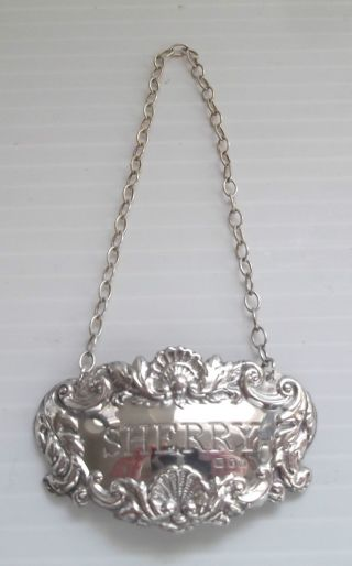 Hallmarked Solid Sterling Silver Ornate Sherry Decanter Label Mint photo