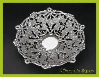 Antique 19thc German Solid Silver Hand Engraved Fruit Basket C.  1890 photo