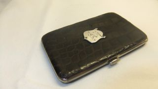 Antique Leather Crocodile Skin & Silver Calling Card Case/wallet 1899 photo