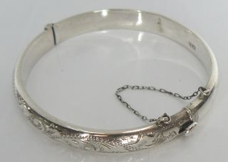 Solid Sterling Silver C.  1968 Ronex B ' Ham Hm Chased Hinged Bracelet Bangle photo