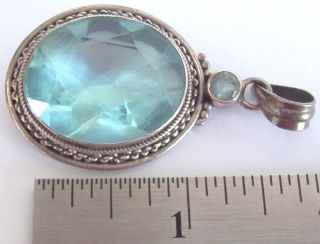 Large Sterling Silver & Aquamarine Pendant - 17.  8 Grams,  1/2 Oz+ - Classic Design photo