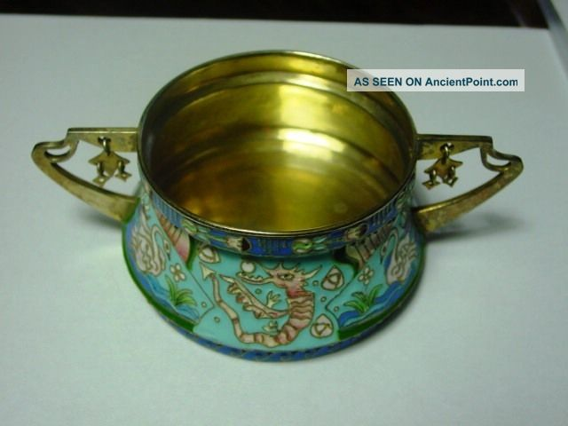Russian Style Silver Enamel Silver Bowl With Handles 9,  5x5,  0 Cm, Russia photo