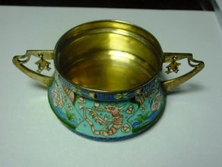 Russian Style Silver Enamel Silver Bowl With Handles 9,  5x5,  0 Cm, photo