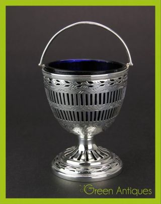 Antique 19thc Georgian Solid Silver & Glass Sugar Basket,  William Abdy I C.  1805 photo