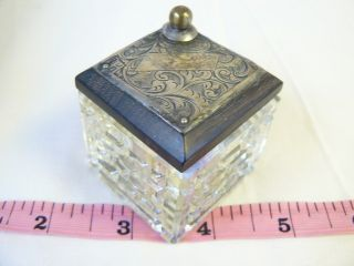 Antique Cut Glass Inkwell With Hm Sterling Engraved Cover photo