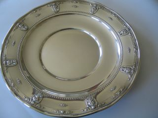 Wallace Sterling Large Round Fluted Tray Rose Point Pattern Gorgeous Condition photo