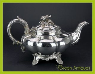 Antique 19thc Georgian Solid Silver Teapot,  Charles Gordon,  London C.  1835 photo