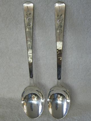 Chinese Japanese Sterling Silver Tablespoon Spoon Set Of 2 Bright Cut Floral photo