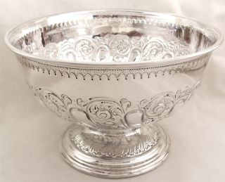 Antique Hallmarked Sterling Silver Bowl On Pedestal Base - 1900 - 223g photo