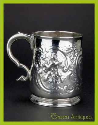 Antique 18thc Georgian Solid Silver Hand Engraved Cup,  John Millington C.  1720 photo