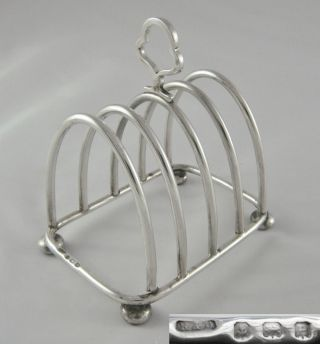 Lovely Antique Roberts & Dore Hm Birmingham 1914 Sterling Silver Toast Rack photo