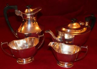 Four Piece Solid Silver Tea Service Sheffield 1944 photo