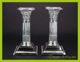 Antique 20thc Edwardian Solid Silver Pair Of Candlesticks,  Birmingham C.  1909 photo