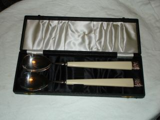 Vintage Silver Plate Salad Fork And Spoon 2 Piece Salad Serving Set Sheffield photo