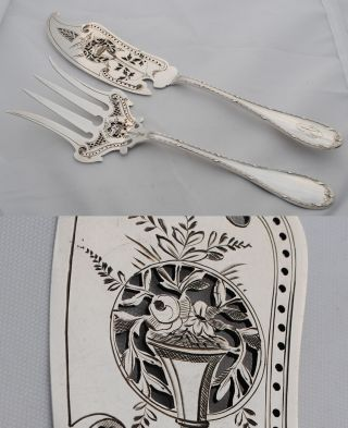 French Sterling Silver 2pc Fish Servers Louis Xvi photo