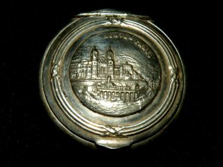 Antique French Silver Snuff Box Gilt Interior French Head Mark Monte Carlo Lid photo
