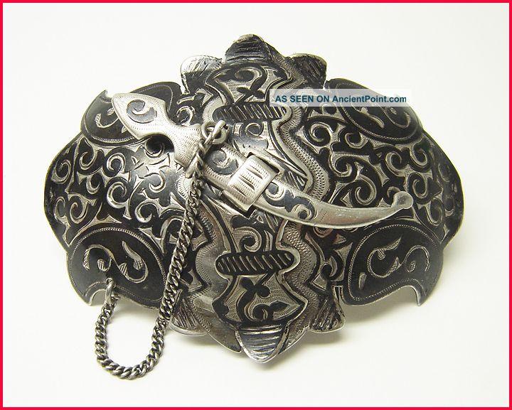 Antique Russian Silver & Niello Belt Buckle - Kiev Hallmarks Russia photo