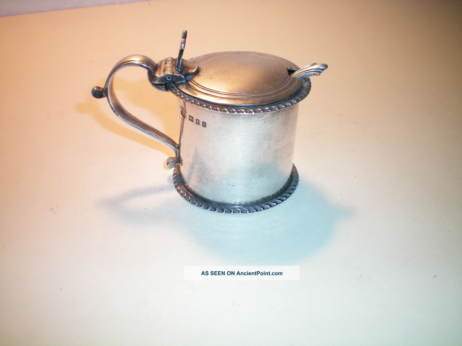 Vintage Solid Silver Mustard Pot And Spoon 1926 Mustard Pots photo