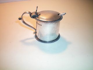 Vintage Solid Silver Mustard Pot And Spoon 1926 photo