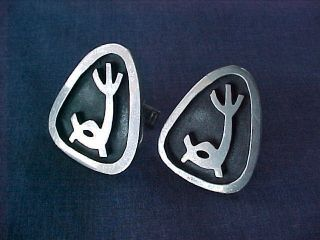 Esther Lewittes Sterling Cufflinks American Modernist Silver Los Angeles Ca $1 photo